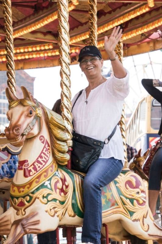 Family fun on the carousel at the Steam Transport event at Chatham Dockyard 2019