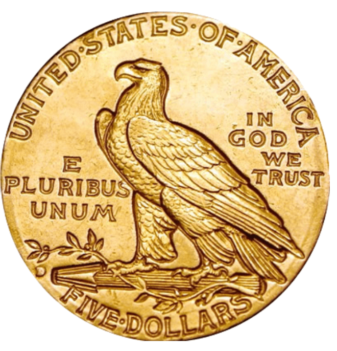 gouden 5 dollar munt 1909