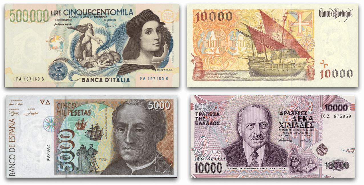 Valutabiljetten Zuid-Europese Landen