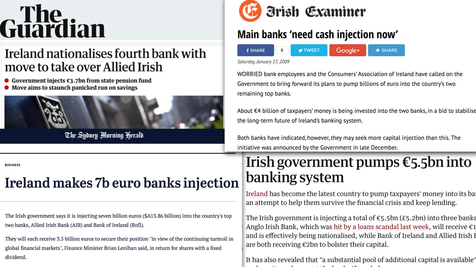 Nieuwskoppen over bank reddingen Ierland