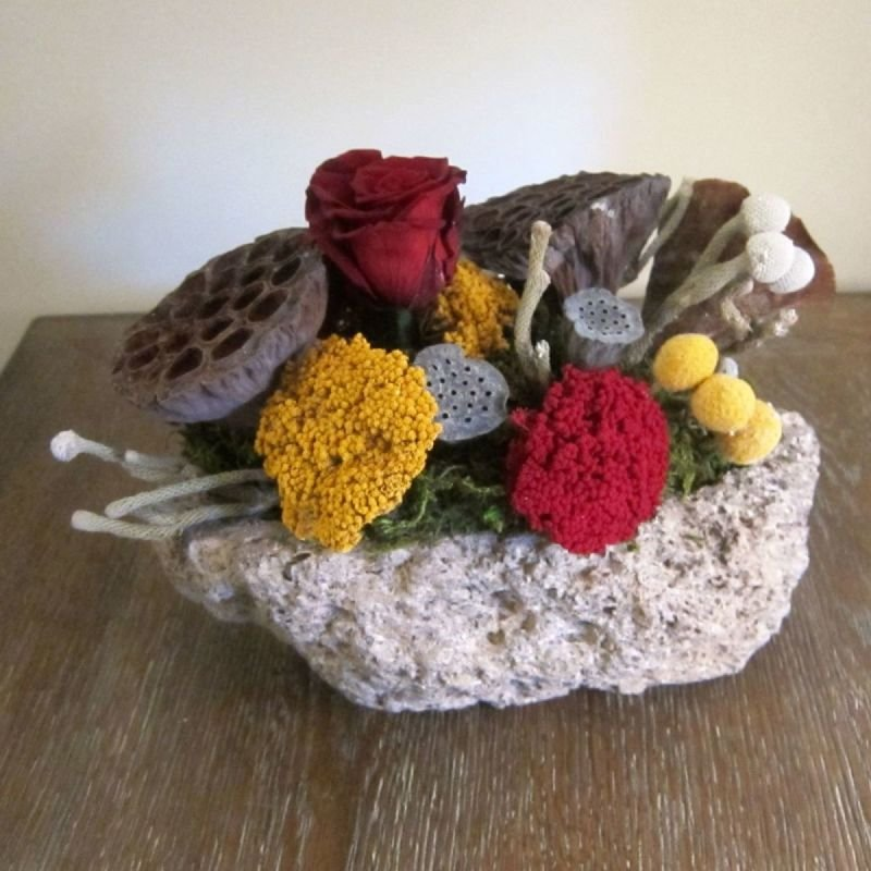 114 Lava Rock with Red Roses