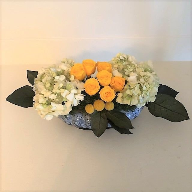 116 Small Hydrangea with 9 mini yellow roses