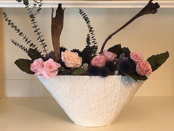 120 Large Leaf Vase Manga Pink Roses with Purple