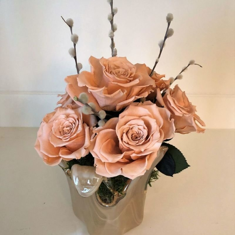 123 Murano Glass with Peach Roses