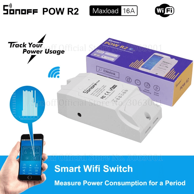 Sonoff Pow R2 15A 3500W Wifi Smart Switch Higher Accuracy Power Consumption Measure Monitor Current Energy Usage Work With Alexa