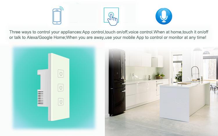 AU/US Standard 3 gang 1 way wifi power switch for lighting smart home