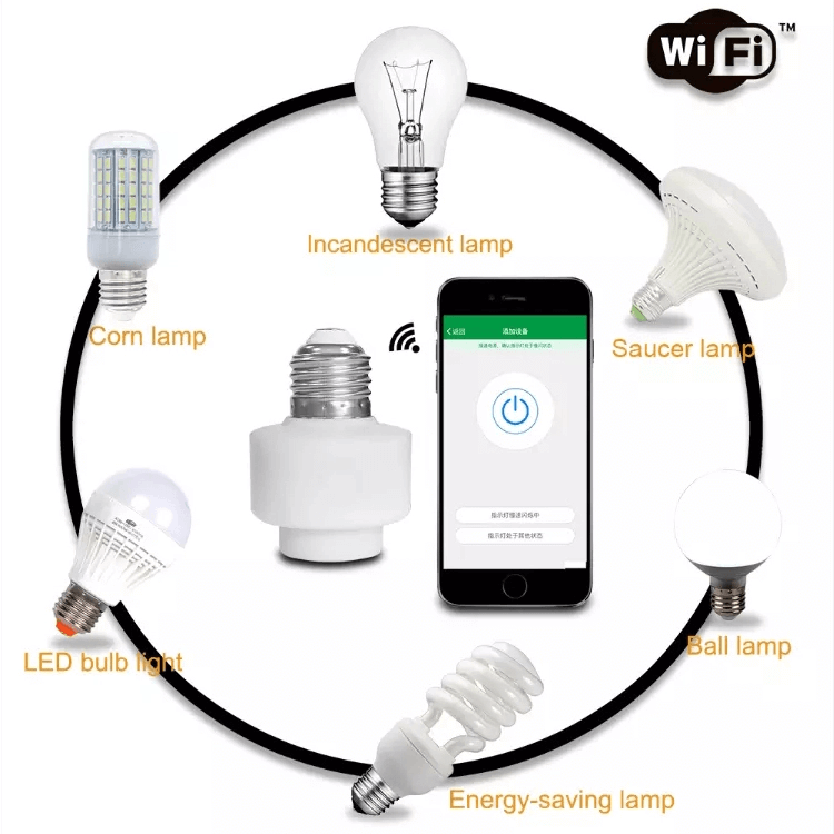WIFI Wireless Remote E27 Plastic Lamp Holder for Office Building Smart Lighting System