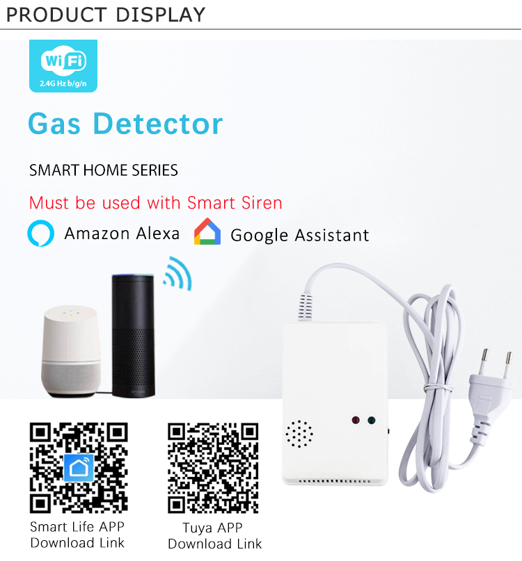Gas Detector compatible with Tuya Smart Home Alarm System supports Natural Gas and Town Gas and LPG
