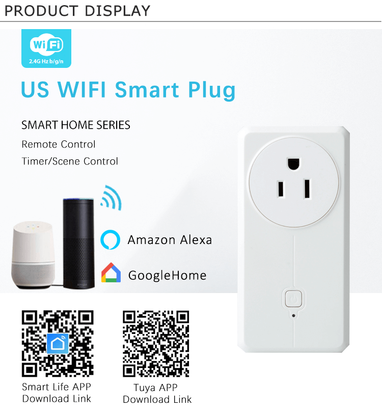 US 16A Tuya APP Wireless WIFI Remote Control Smart Power Socket Plug with USB Outlet Supports Alexa and Google Home