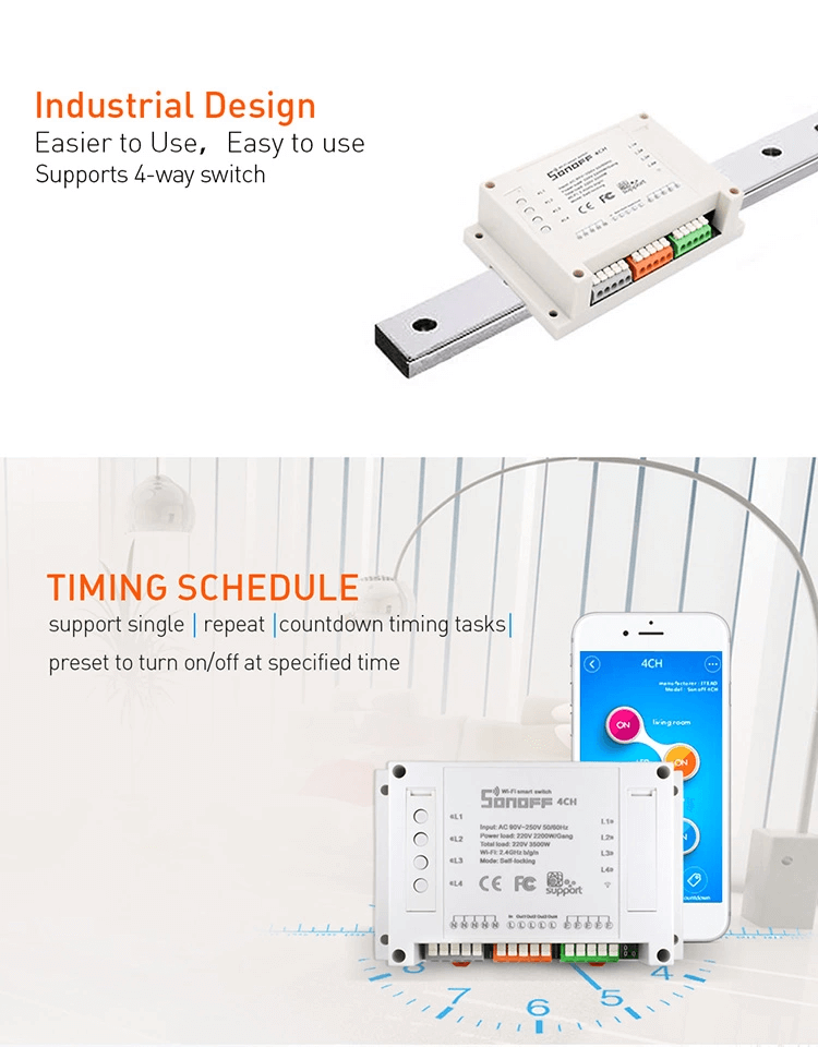 Itead Sonoff 4CH Multi-channel Wireless Wifi Switch For Smart House Home Automation Remote Controller