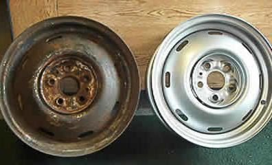 Refurbishment of steel wheels