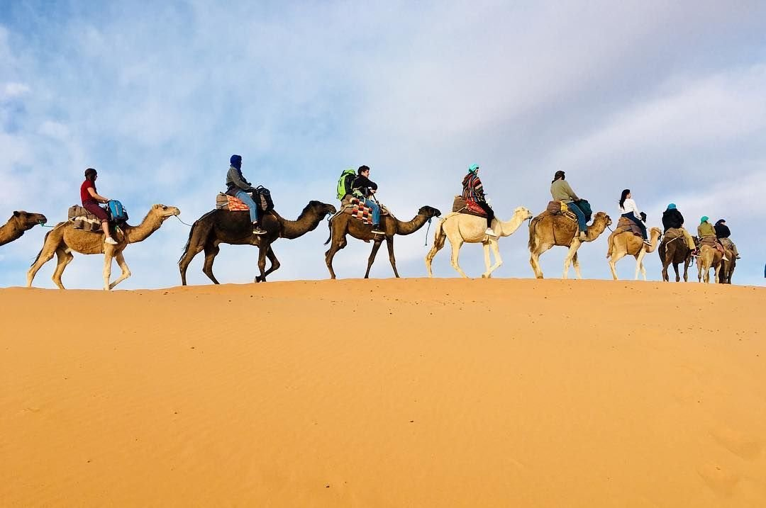 Merzouga desert, camel ride, camel trekking in morocco, erg chebbi,