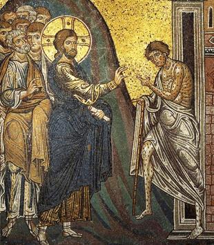 Jésus guérit un lépreux, mosaïque médiévale, Sicile, cathédrale de Monreale, XIIe-XIIIe s.