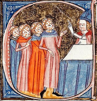 Détail d'un - C - initial historié : Clercs atteints de lèpre recevant des instructions d'un évêque, Omne Bonum, James Palmer, XIVe siècle, Londres, British Library.