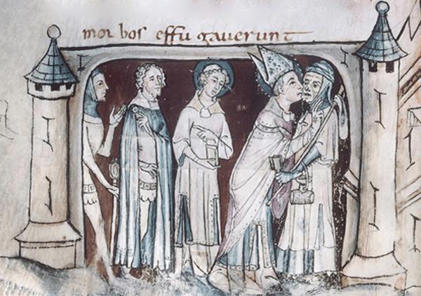 Saint Martin, évêque, embrasse d'un baiser sur la bouche un lépreux devant la porte d'une ville (Paris),  Sulpicius Severus, XIVe siècle, bibliothèque de Tours. L'agrandissement montre le vitrail de la cathédrale de Chartres représentant Saint Martin guérissant un lépreux.