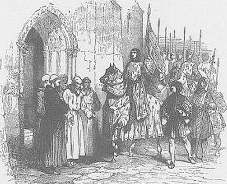 Le roi Louis le Jeune fait une halte au clos Saint-Lazare en 1117, alors qu'il part pour la croisade. L'agrandissement montre une photographie de la léproserie Saint Lazare devenue, au XVIIe siècle, le siège de l'église Saint-Vincent-de-Paul, BnF.
