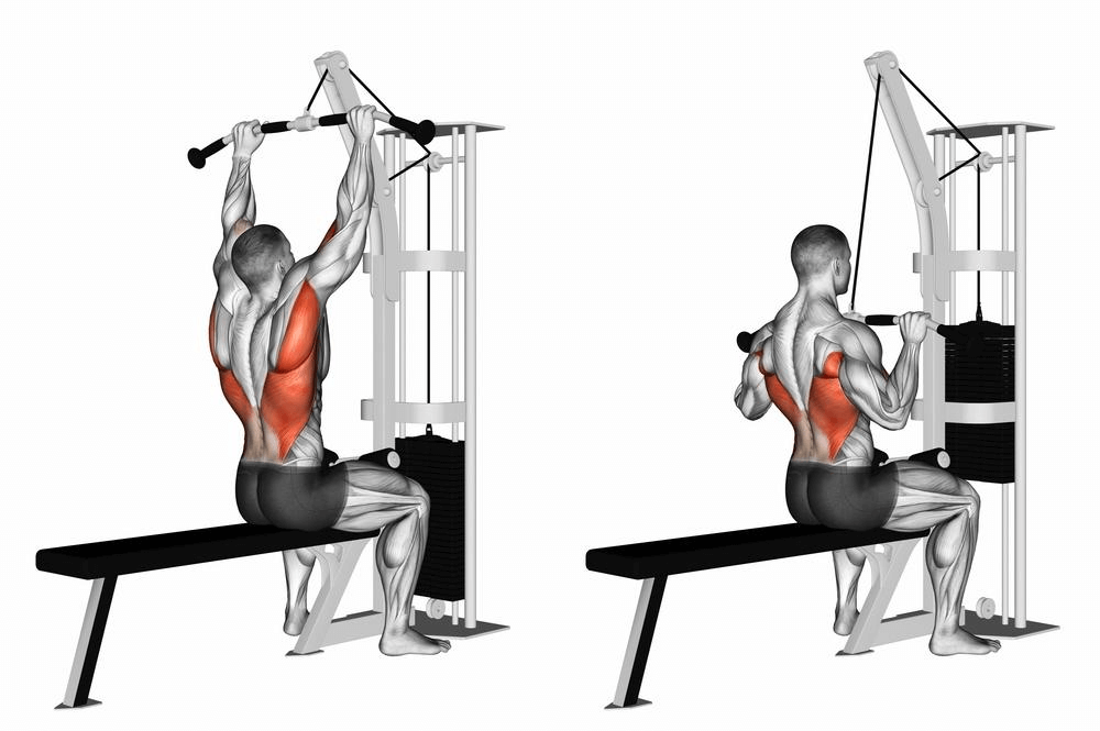 3D Illustration of man performing wide grip lat pull down
