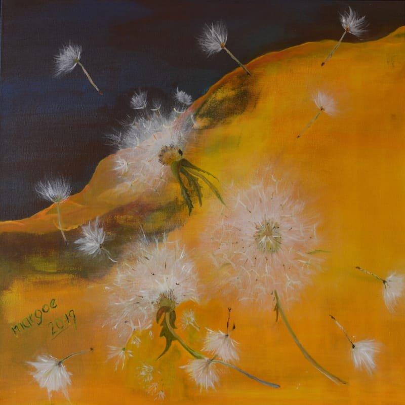 Pusteblume, 60 x 60 cm Acryl/Öl - Mischtechnik auf Leinwand, (2019)
