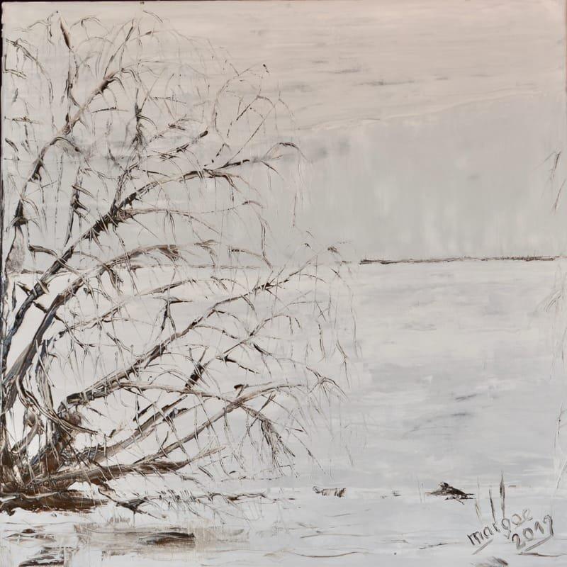 Weide am Müritzufer, 60 x 60 cm Öl auf Leinwand, (2019)