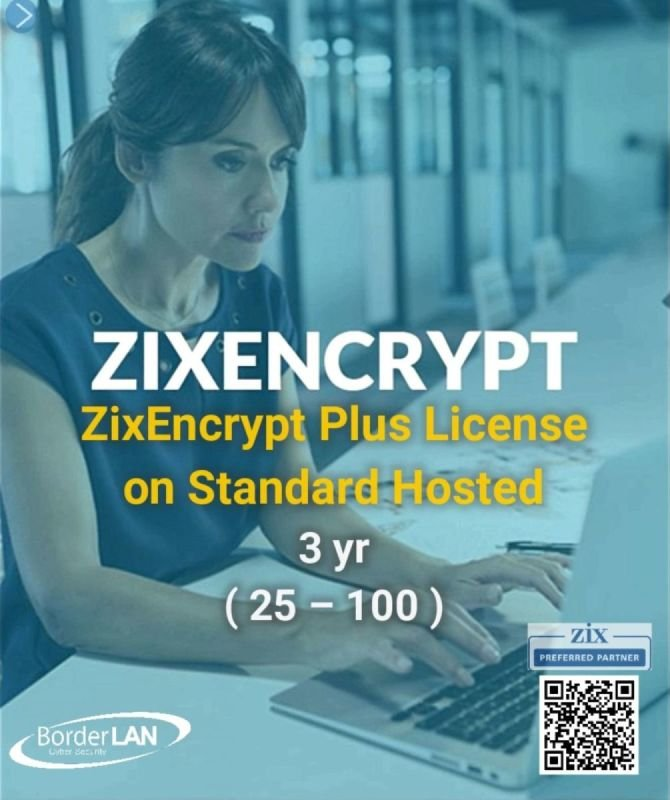 ZixEncrypt Plus License on Virtual, 3 yr (25 – 100)