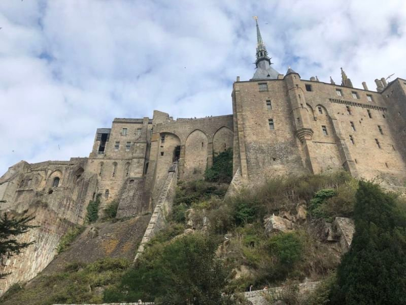 Looking up at Mont St. Michel