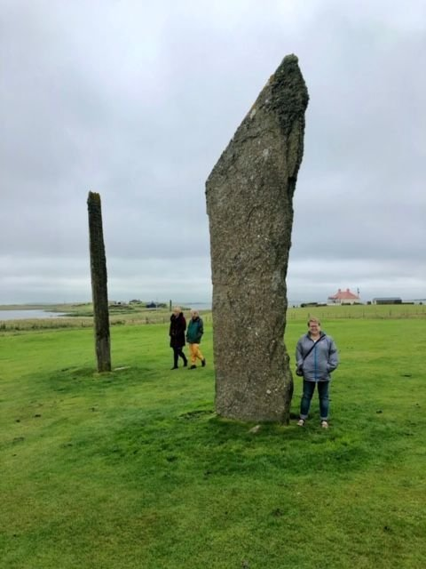 Me below one of the Standing Stones of Stenness