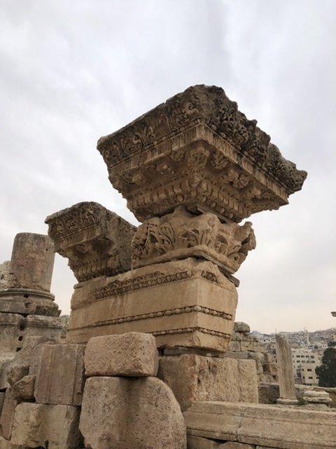 Balanced Corinthian capitol at Jerash