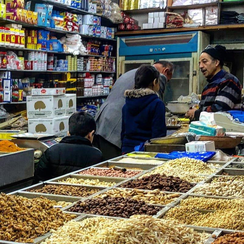 Sweet family scene in a shop in Jerusalem