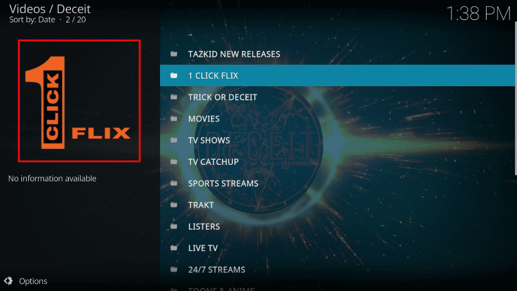 That's it! The Deceit Kodi Add-on is now successfully installed