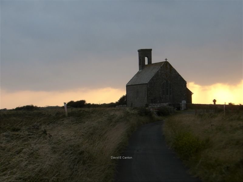 Flimston chapel in Pembrokeshire in the evening.