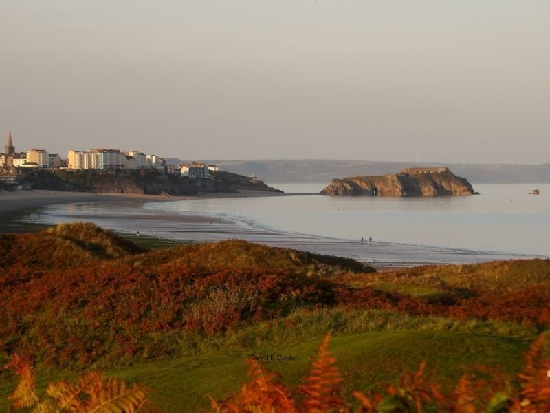 View of Tenby over golf course