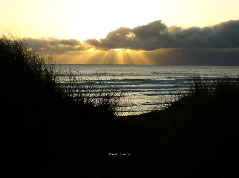 Sunshine through the clouds at Freshwater West.
