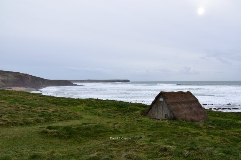 The Sea Weed hut at Freshwater West with Linney Head in the background.