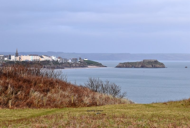 View of Tenby from cliffs near Penally