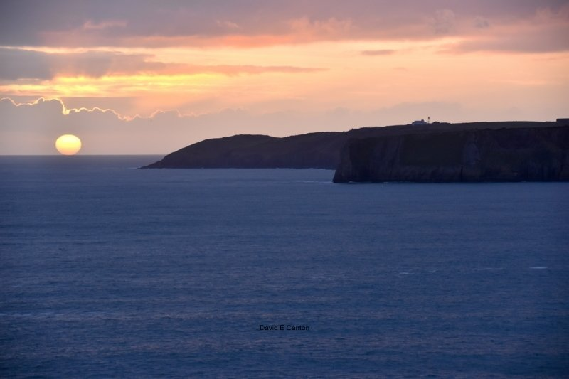 Sunset over Lydstep point in Pembrokeshire