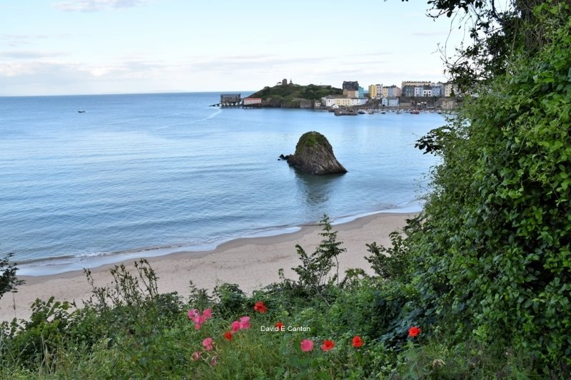 A view of Goscar Rock on the North beach in Tenby