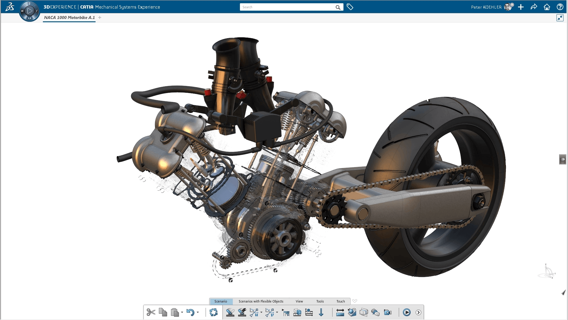 An exploded view of an Ducati motorcylce engine can be appreciated in great detail in the XTAL HMD.