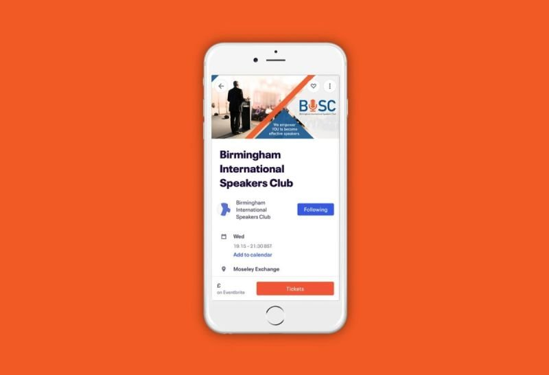 Birmingham International Speakers Club - Eventbrite Branding