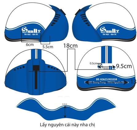Quy cách in logo lên nón bảo hiểm