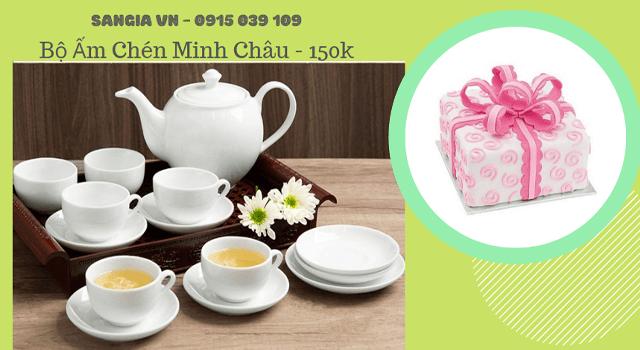 Bộ ấm trà Minh Châu Làm quà tặng đại hội đảng