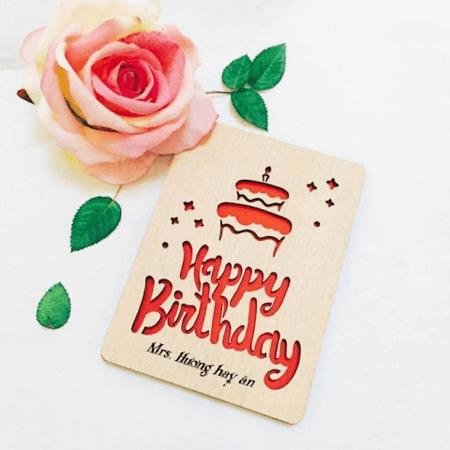Thiệp gỗ chúc mừng sinh nhật bạn