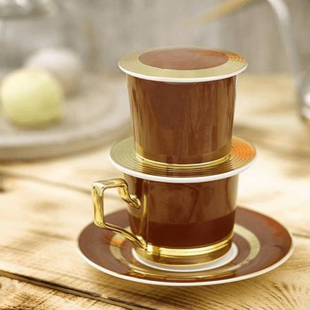 Phin cà phê sứ mạ vàng cao cấp