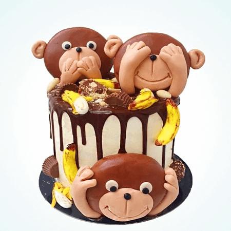 Hình ảnh bánh kem sinh nhật những chú khỉ phá phách