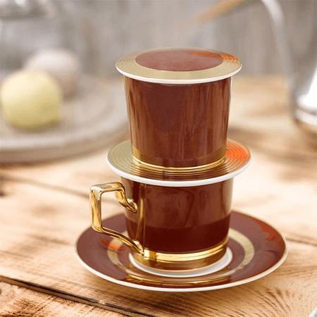 Phin cà phê sức Camelia dát vàng