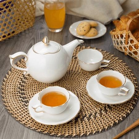 Bộ trà mẫu đơn dát vàng Minh Long
