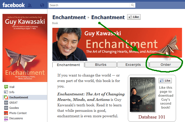 Guy Kawasaki's Enchantment Facebook site where you can order and buy his book