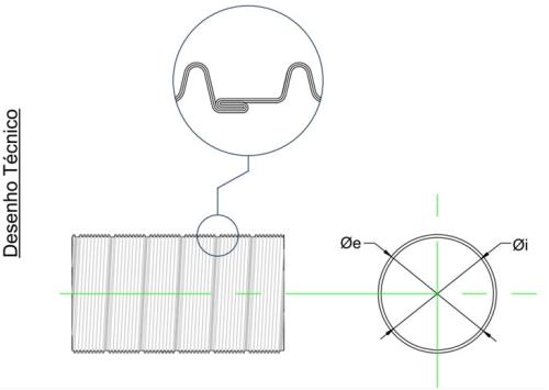 Desenho do tubo de inox flexível