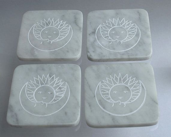 white square decorative stone coaster set of four