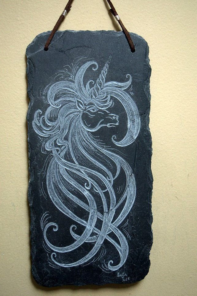 abstract unicorn carving black stone wall panel with hanger