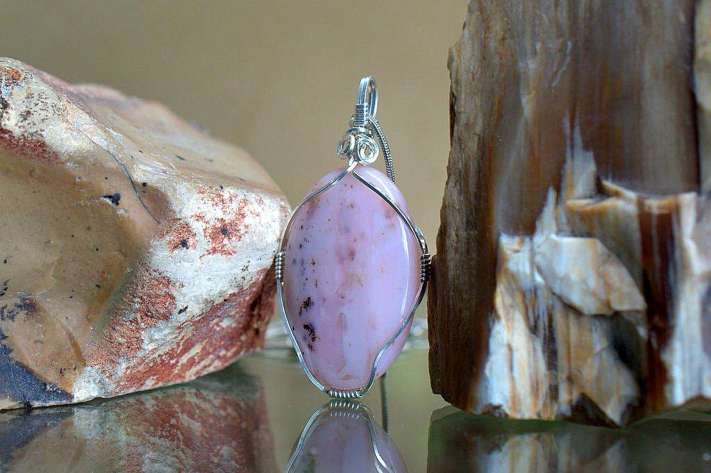 pink opal gemstone silver wire set handmade jewelry necklace